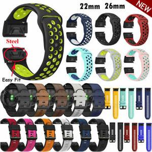 For Garmin Fenix 6/6X/6X Pro Strap Silicone Leather Replacement Band Bracelet
