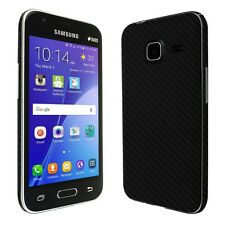 Skinomi Black Carbon Fiber Skin+Screen Protector For Samsung Galaxy J1 Mini