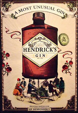 Hendricks Gin Orig AD Poster MOST UNUSUAL GIN Bicycles 2x3'Rare 2010