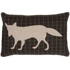 WYATT FOX Applique Pillow Rustic Cabin Lodge Woodland Hunting Plaid Khaki VHC