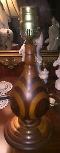 "VTG Mission/Arts 'n Crafts, 13"" Handmade Wood Inlay Lamp"