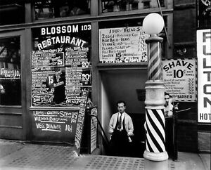 Blossom Restaurant, Barber Shop, 103 Bowery NYC 1935: Vintage Photo Reprint