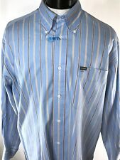 FAÇONNABLE FRANCE Button Down Blue Striped Dress Shirt XL Dry-Cleaned