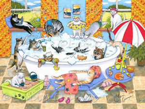 Archival Art Print Poster funny painting Cat 601 cats in bath by Lucie Dumas