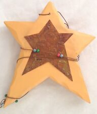 "Honey Brown Tin Metal Wood 9"" Star Ornament Figurine"