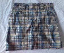 Christopher Banks Golf Skirt Womens Size 8 Plaid Blue Tan Stretch Cotton Skort