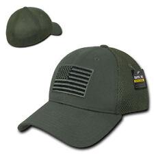 582adf0127677 Olive USA US American Flag Tactical Operator Mesh Flex Baseball Fit Hat Cap