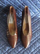 PETRA Sz 6.5 M Brown Leather Croco-Embossed Classic Pump Ladies Womens Shoes NIB