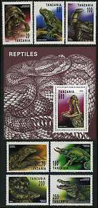 Tanzania 1128-1134,1135 S/s, MNH. Reptiles:Lizard,Iguana,Turtle,Alligator, 1993
