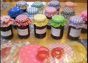 Fabric jam jar lid tops 36 x gingham choose any colour or mixed lots