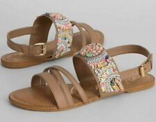 NEW NAUGHTY MONKEY NUDE EMBELLISHED SKY'S THE LIMIT SANDALS SHOES SIZE 6 BUCKLE