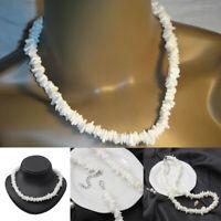 """White Hawaiian 18"""" Chipped Puka Sea Shell Necklace Surfer Choker Shell Jewerly"""
