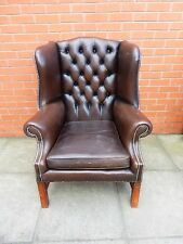 A Dark Leather Chesterfield Wing/Armchair ***DELIVERY AVAILABLE***