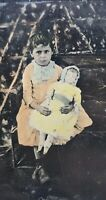 Antique Victorian Tintype Photo Painted Creepy pouting Girl W Her Doll