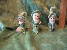 Vintage Unmarked Porcelain Christmas Children Elves Set of 3 Trio