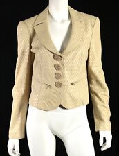 GIORGIO ARMANI Beige Lambskin Snake Effect Embroidered Leather Jacket 42
