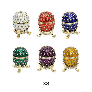 Schmuckei Jewelry Box Case Egg Gold Plated Enamel Rhinestones Antique Blue Green