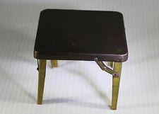 Vintage Antique DollHouse Miniature Tin Metal Folding Card Game Table Furniture