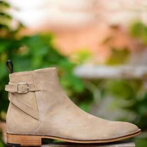 Handmade Men's Genuine Beige Suede Chelsea Buckle Jumper Ankle Casual Boots