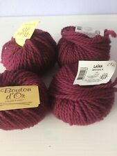 Lot de 4 pelotes de laine Bouton d'or Laïka colori marsala