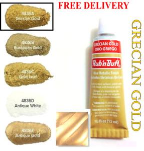 Rub n Buff Original Metallic Gilding Permanent Wax Leather Woods - Grecian Gold