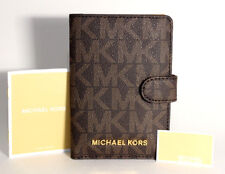 Michael Kors Jet Set Travel MK Signature PVC Passport Case Holder BrownAcorn NWT