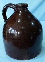Stoneware Jug - Antique Albany Slip Glazed Stoneware Beehive Jug - Primitive