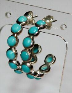"Beautiful Sterling Silver SI 925 QVC Sleeping Beauty Turquoise 1"" Hoop Earrings"