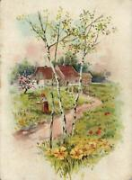"1913 VINTAGE COUNTRY COTTAGE Scene POSTCARD - Message re ""Auto"" Travelling!"