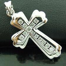 DIAMOND CROSS GENUINE HALLMARKED REAL 9K SOLID WHITE SOLID GOLD ANTIQUE DESIGN