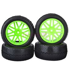 RC 1:10 Off-Road Buggy Car Front&Rear Rubber Tyre Tires Green Wheel Rim 6612AS