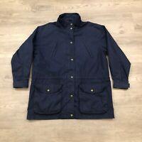 Eddie Bauer Womens Medium Wool Plaid Lined Navy Zip Up Snap Button Jacket