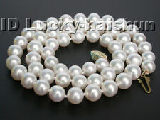 AAAA 6.5mm GENUINE AKOYA WHITE SEA WATER PEARL NECKLACE 14K GOLD