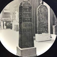 Antique Magic Lantern Glass Photo Slide Marble Obelisk Shalamaneser Nimrod