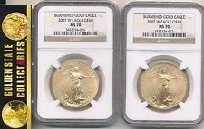 2007 W $50 BURNISHED GOLD EAGLE 1 OZ. NGC  MS/SP 70 PERFECT COIN