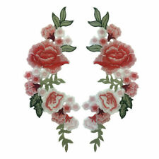 Pink Rose Flower Embroidery Applique Cloth Patch DIY & on Dress Iron Hat Se S8W4