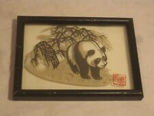 unique framed glass panda cut paper art wall decor Asian Oriental bamboo style