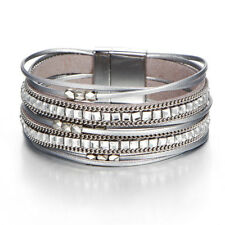 Women Multilayer Crystal Leather Magnet Wrap Cuff Charm Bracelet Jewelry Gift-AY