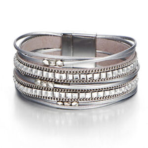 Women Multilayer Crystal Leather Magnet Wrap Cuff Charm Bracelet Jewelry Gift DS