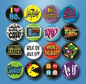 """80s Theme Buttons 16 Pins 1.25"""" Party Gift Supplies Shirt Accessories Quotes Lot"""