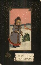 Christmas - Little Girl in Snowstorm w/ Cute Umbrella c1910 Postcard