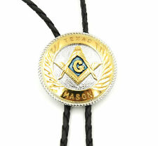 Texas Mason Masonic  Gold and Silver Plated Western Cowboy Rodeo Bolo Tie
