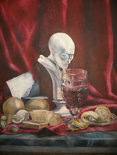 Vintage oil on canvas still life fruits bust  painting  Donald Reichert
