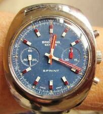 Rare Breitling Geneve Sprint Chrono SS Val 7733 Movt Watch Serviced + Warranty