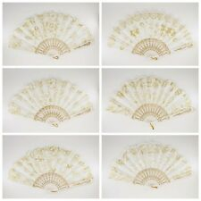 12 Pcs White Gold Glitter Floral Pattern Hand Fan for Wedding Shower Party Favor