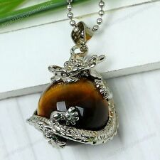 1pc Reiki Tiger Eye Gemstone Dragon Carved Ball Bead Pendant Fit Charm Necklace