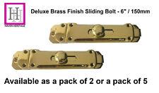 """6"""" Door Bolt Dead Lock Polished BRASS Finish Sliding Deluxe Heavy Duty Catch"""