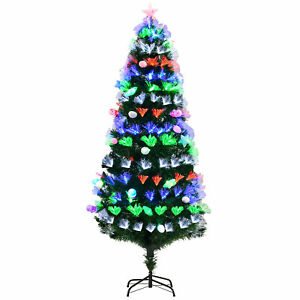 Artificial Christmas Tree w/ Lights Tall Faux Spruce Style Holiday Decor Green