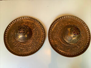 Vintage Pair Arts & Crafts Embossed Copper Light Fixture Wall Sconce SEE DETAILS