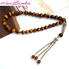 Natural Tiger Eye's Stone 33 Prayer beads Islamic Muslim Rosary Misbaha Tasbih